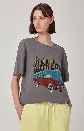 빈티지 레터링 이미지 티셔츠