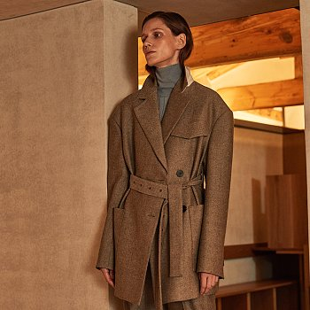 [윤소이 착용] ROUISA Waist Belted Oversized Coat_Gray Twill