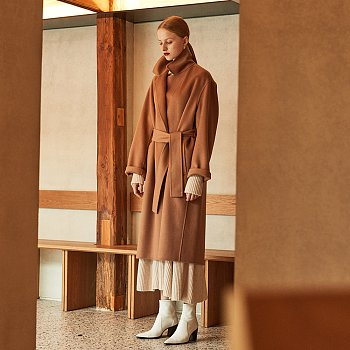 [배윤영,엄유정,전효성 착용] MANET Cashmere Blended Wool Coat_Camel
