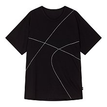 [+NOIR]스티치 라인 반팔 티셔츠