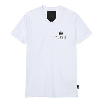 헥사곤 로고 장식 브이넥 티셔츠