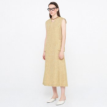 V-neck Sleeveless Dress_Yellow