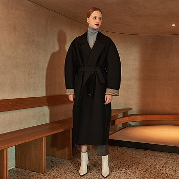 AMBRE Volume Sleeve Belted Trench Coat_Black