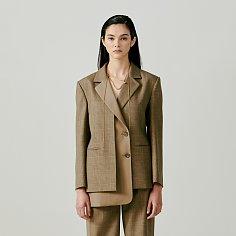 Double-Layered Checked Wool Jacket - Khaki