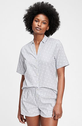 ★갭 여성 21년 SUMMER★  패턴드 숏 슬리브 라운지 셔츠