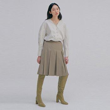 Pleats Skirts_Melange Brown