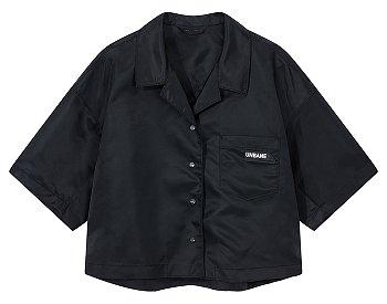 글로시 오픈 카라 크롭트 셔츠