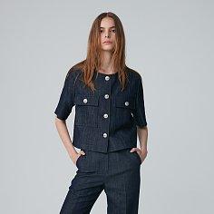 Jacket Round Neck Crop Half Sleeve Sunny Blue
