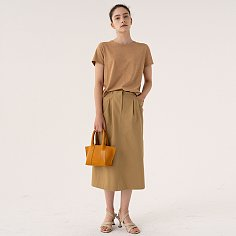 SS21 Straight Midi Skirt From Japan (COSMO) Cinnamon