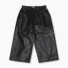 LEATHER WIDE LEG CROPPED PANTS