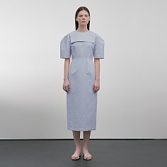 Sailor Collar Linen-Blend Dress(BLUE)