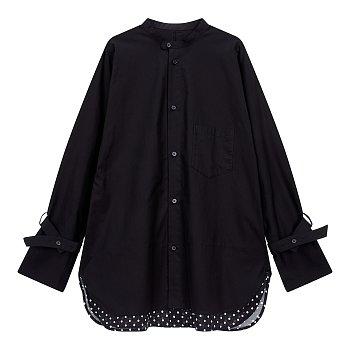 [REGULATION]도트 배색 원 포켓 셔츠