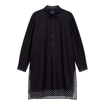 [REGULATION]도트 배색 슬릿 셔츠