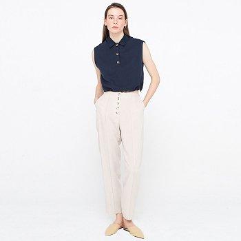 5 Button Linen Trousers_Light Beige