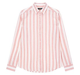 [Men Collection] 코튼 린넨 스트라이프 슬림 셔츠