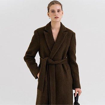 FW21 앙고라 Angora Belted Coat Dark-brown