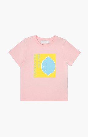 레몬 프린트 반팔 티셔츠_핑크