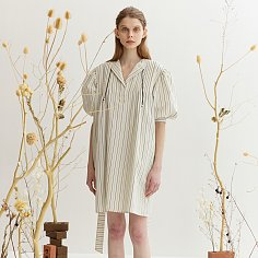 STRIPE BELT DRESS - IVORY