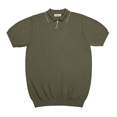 Combination collar knit (Khaki)