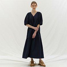 V NECK LONG DRESS - NAVY