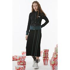 Wide Track Pencil Skirt (Black)