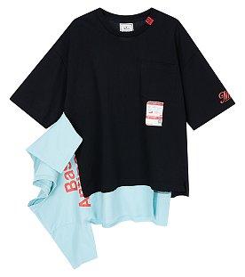 [Mihara Yasuhiro] 언발 패치 원 포켓 티셔츠 (남성)