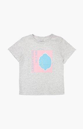 레몬 프린트 반팔 티셔츠_라이트그레이