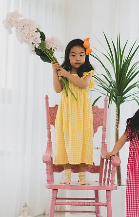 GINGHAM CHECK DRESS (YELLOW)