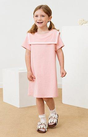 A라인 마린 원피스 - 핑크