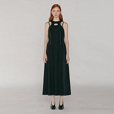 Contrast Stitch Cut-Out Dress_Black