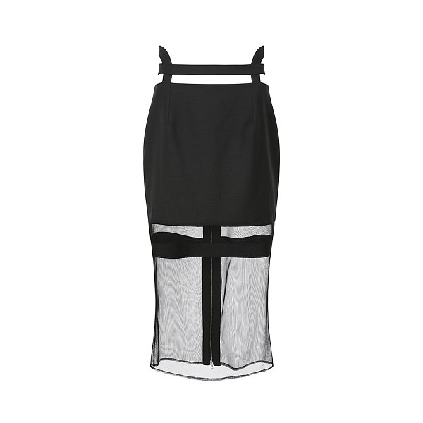 [시즌오프 20% OFF] Waistband Detailed zipper Midi-Skirt