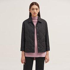 띠어리 Women Washer Nylon Crop Quilt Down Jacket_ Black