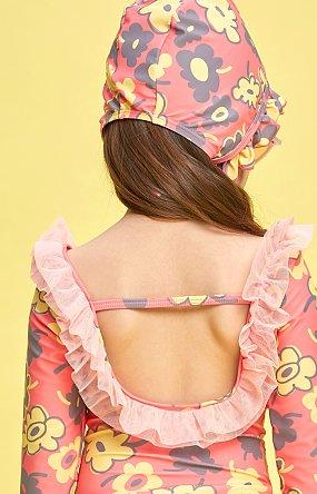 페이스커버 러플 스윔햇 - 핑크(플라워)
