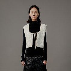 Vest Crochet Vintage Hand Made Reversible White